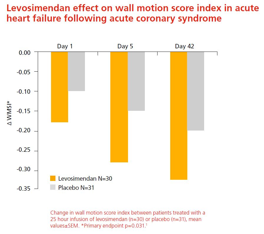 Levosimendan effect on wall motion score index in acute heart failure following acute coronary syndrome